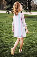 Модное  детское платье-трапеция на девочку р. 116-134 розово-мятное, фото 1