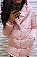 Розовая женская куртка удлинённая