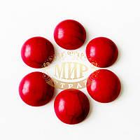 Кабошон из синтетического камня, цвет Красная бирюза, размер 16мм, 1шт