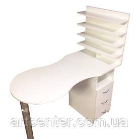 Стол маникюрный белый, складной  с полкой под лаки
