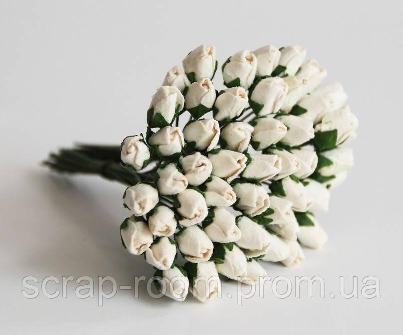 Роза бутон закрытый белый 1 см, бутоны розы закрытые белые, белые розы, бумажные цветы, цена за 1 шт