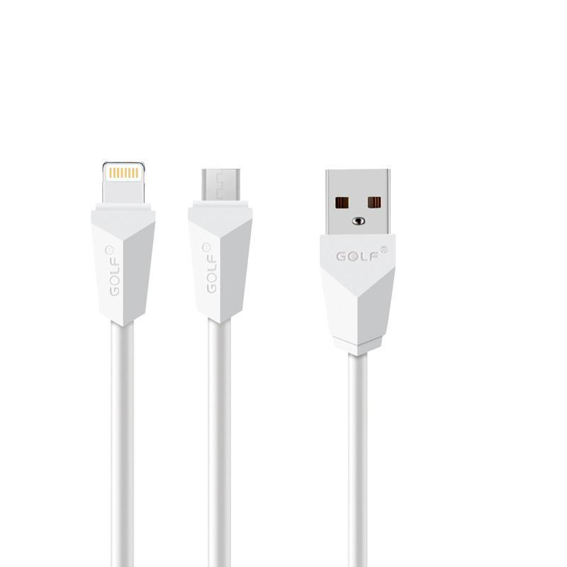 USB кабель Golf Diamond 2in1 iPhone 6/microUSB White (GC-27w)