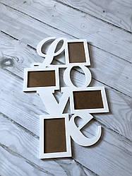 """Рамка из дерева  """"Love"""" на 4 фото"""