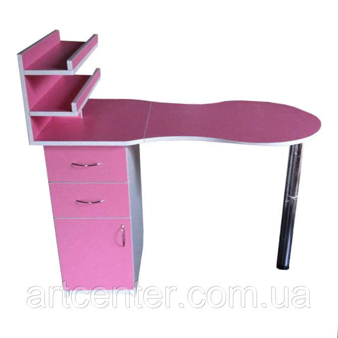 Стол для маникюра розовый, складной, с двумя ящиками и закрытой полочкой