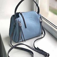 Женская кожаная сумка голубая