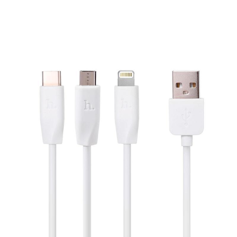 USB кабель Hoco X1 3in1 iPhone 6/MicroUSB/Type-C White 1m