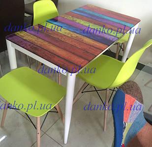 Стол Т-300-11 полоска Vetro Mebel 110*60, стекло