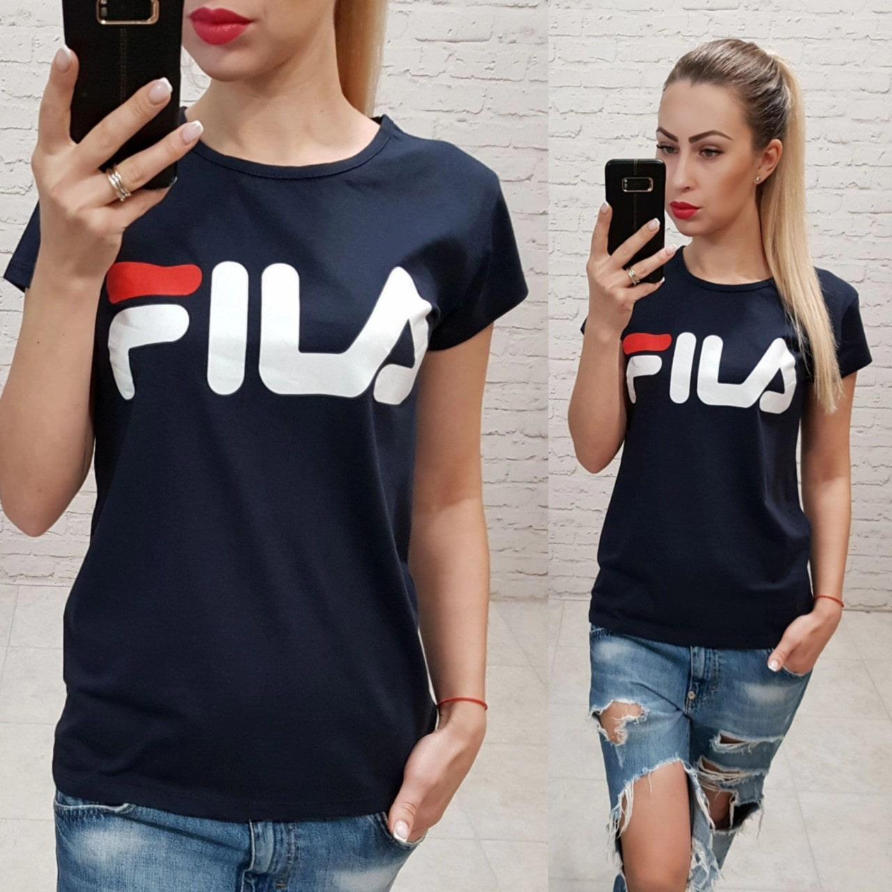 Женская футболка Fila черная Турция р. S,M,L оптом