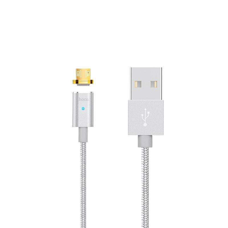USB кабель Hoco U16 Magnetic Absorption MicroUSB Silver 1m