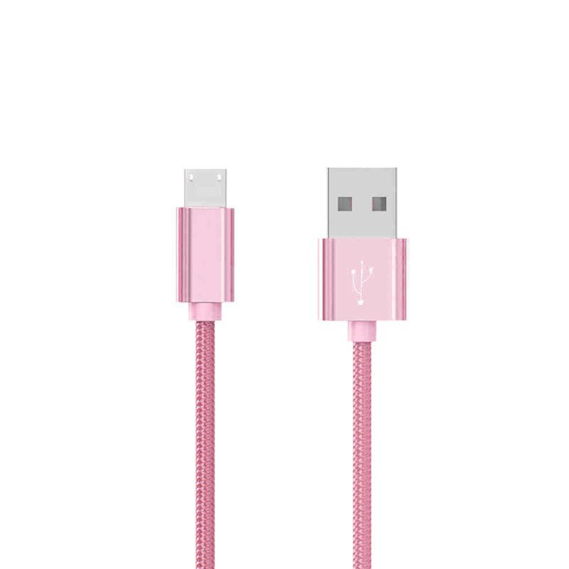 USB Cable Hoco X2 Knitted MicroUSB Pink 1m
