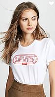 """Футболка женская """"Levis, левис белая с красным лого"""