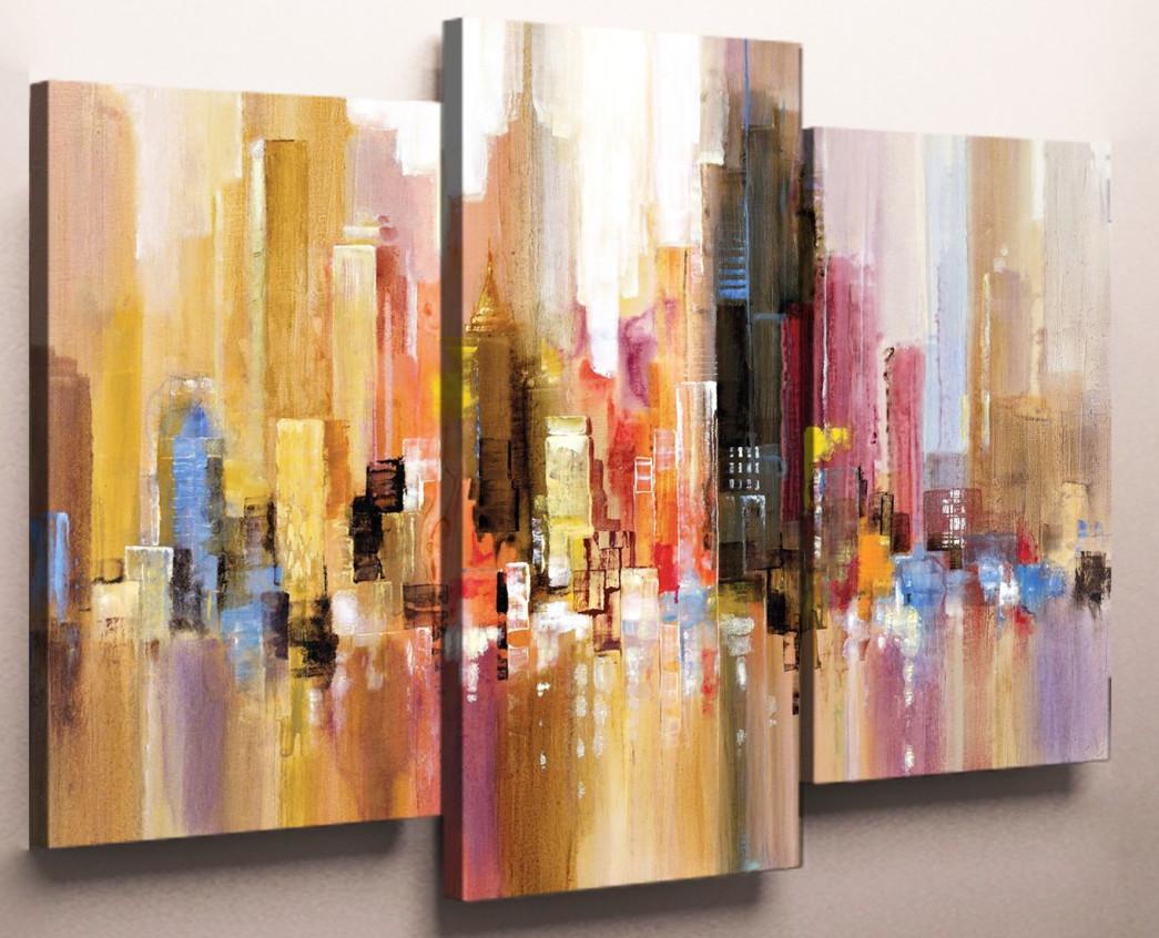 Модульні картини-абстракції від виробника Фантастичні міста 90х70