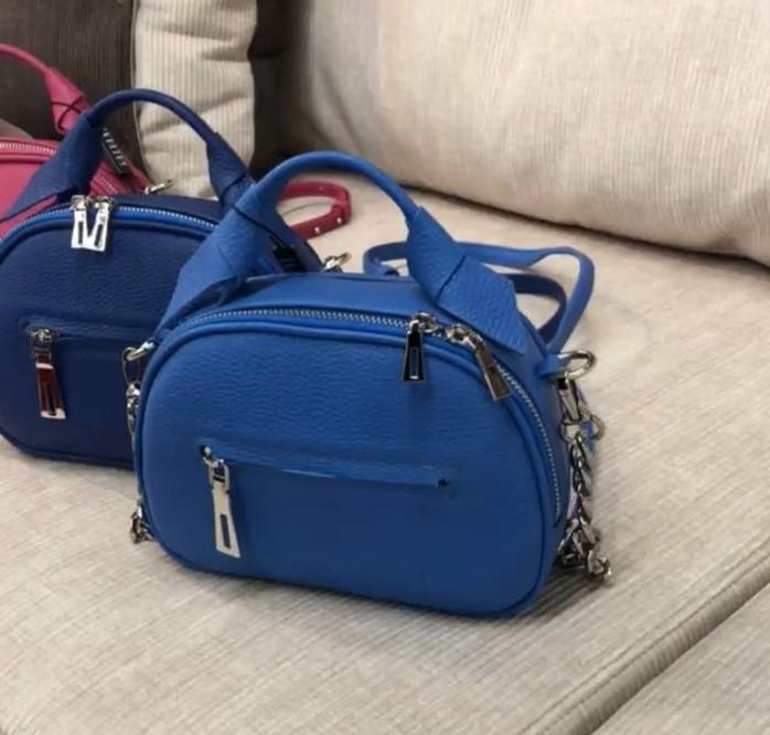 Женская кожаная сумка синяя