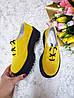 Женские туфли из натуральной замши желтого цвета на небольшой платформе DOKTOR POWDER SUEDE, фото 4