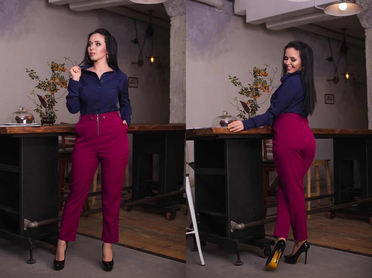 """Укороченные женские брюки """"ALEUT"""" с карманами (большие размеры)"""