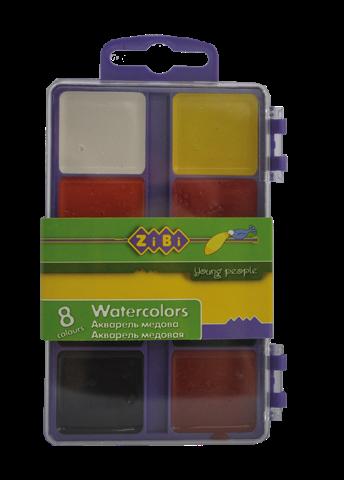 Акварельні фарби 8 кольорів, пластик.