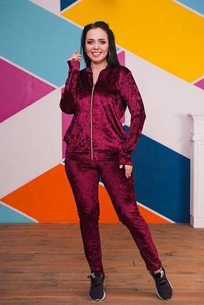"""Женский бархатный спортивный костюм """"Sophia"""" с кофтой на молнии (большие размеры), фото 2"""