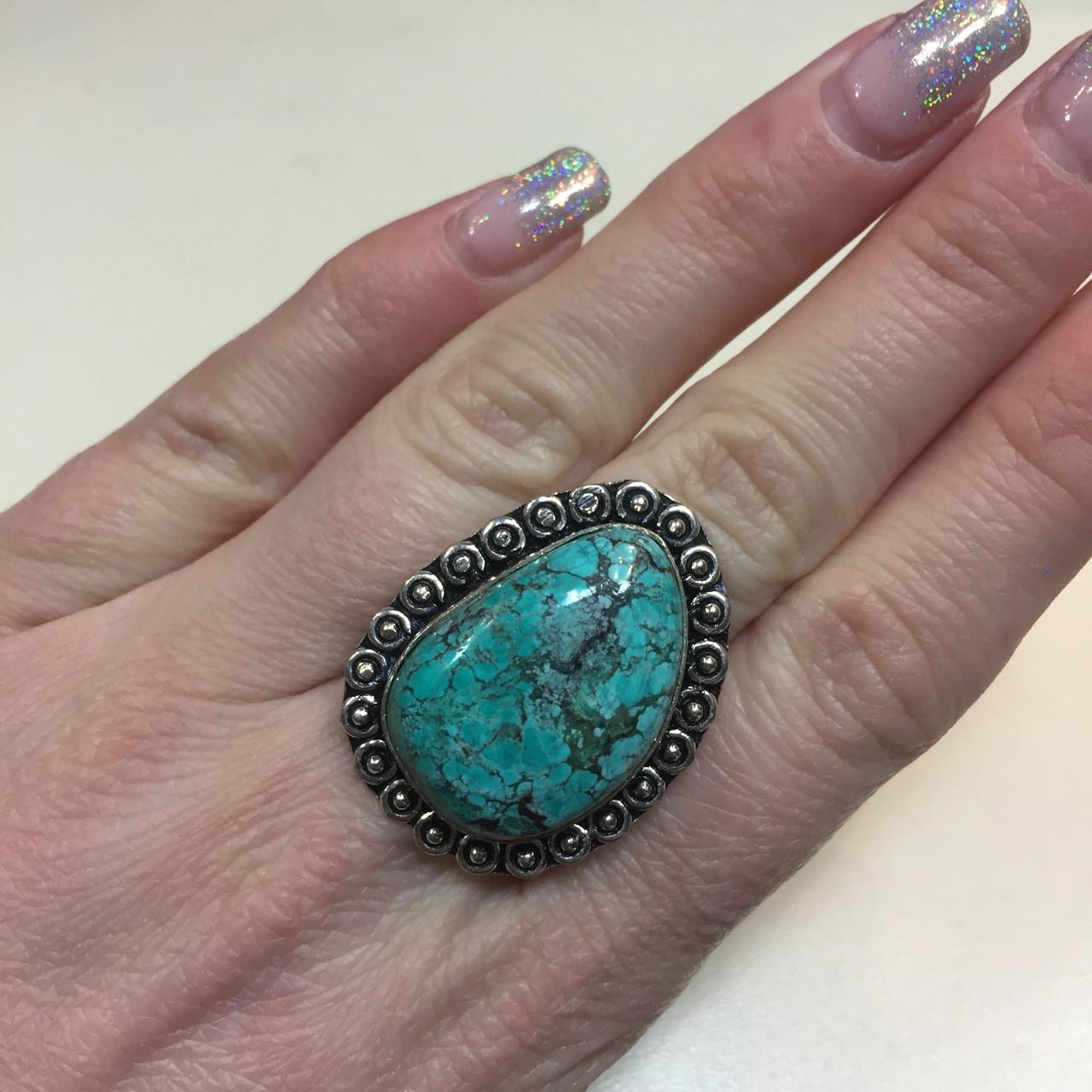 Красивое кольцо с камнем бирюза в серебре. Кольцо с бирюзой 17.5 размер