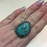 Красивое кольцо с камнем бирюза в серебре. Кольцо с бирюзой 17.5 размер, фото 1