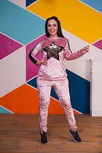 """Женский бархатный спортивный костюм """"BLACK STARS"""" с пайетками (большие размеры)"""