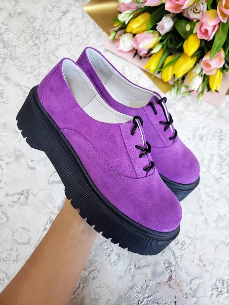 Женские туфли из натуральной замши сиреневого цвета на небольшой платформе DOKTOR POWDER SUEDE