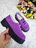 Женские туфли из натуральной замши сиреневого цвета на небольшой платформе DOKTOR POWDER SUEDE, фото 2