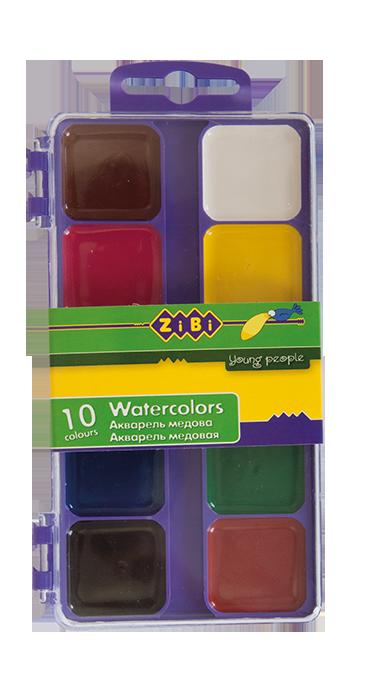 Акварельні фарби 10 кольорів, пластик