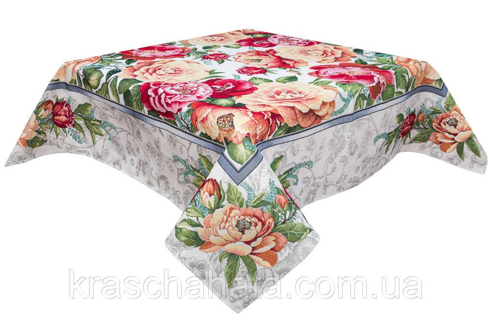 Скатерть гобеленовая,  Цветочный принт, 137х137 см, Эксклюзивные подарки, Столовый текстиль