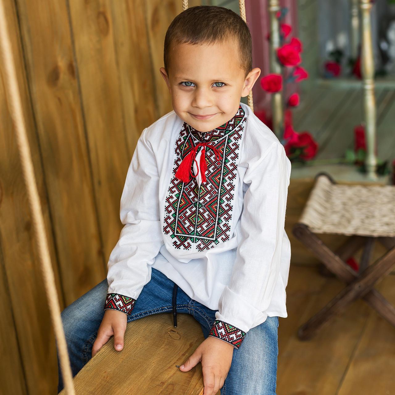 """Вишиванка для хлопчика """"Михайло"""" на домотканому полотні з українським орнаментом"""