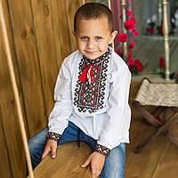 """Вишиванка для хлопчика """"Михайло"""" на домотканому полотні з українським орнаментом, фото 1"""