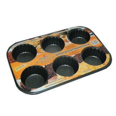 Антипригарная форма для кексов с рефлёнными бортами, форма для кексов, 6шт