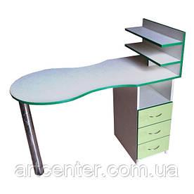 Манікюрний стіл двоколірний салатовий з білим, з поличками без бортиків