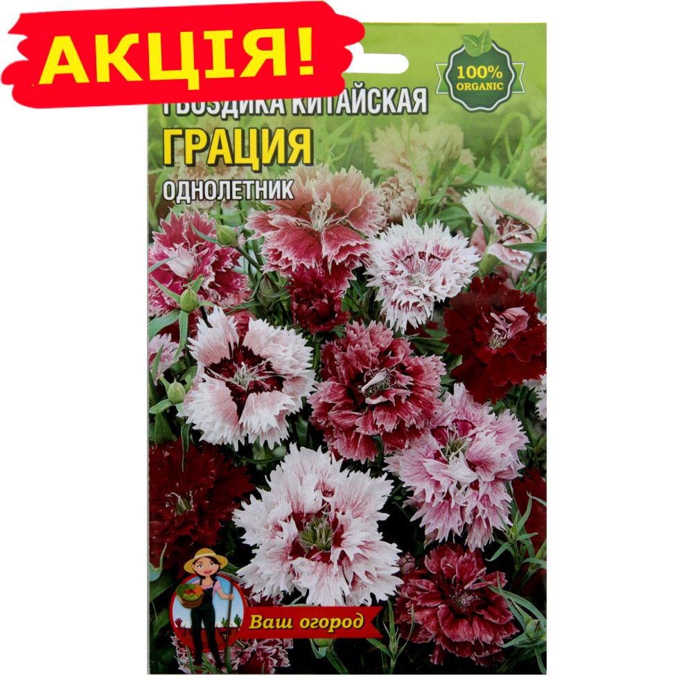 Гвоздика Грація однорічник насіння квіти, великий пакет 3 г