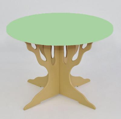 """Стол """"Мася"""" ножка в форме дерева (выс.46см), столешница круг салатовый (диам.65см), Бамсик /1/"""