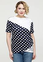 419725c0732 Блуза в горошек женская нарядная блузка с гипюром трикотажная летняя  больших размеров (батальная)