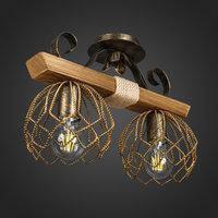 Светильник деревянный двухплафонный ELINA