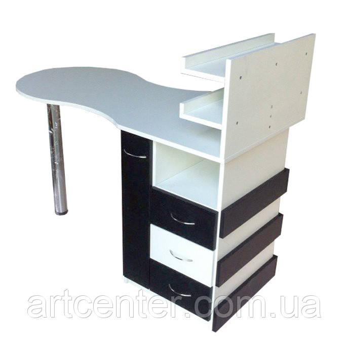 """Маникюрный стол черно-белых цветов с ящиком """"карго"""", выдвижными ящиками для салона красоты"""