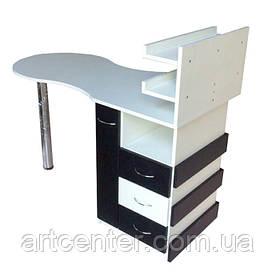 """Манікюрний стіл чорно-білих квітів з ящиком """"карго"""", висувними ящиками для салону краси"""