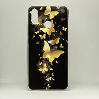 Чехол Print  для Huawei P Smart Plus / INE-LX1 силиконовый бампер Butterflies gold