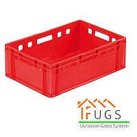 Ящик пластиковый красный - Е2 (600х400х195 мм)
