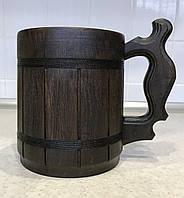 Деревянный бокал с металлической вставкой объемом 0,5л, фото 1