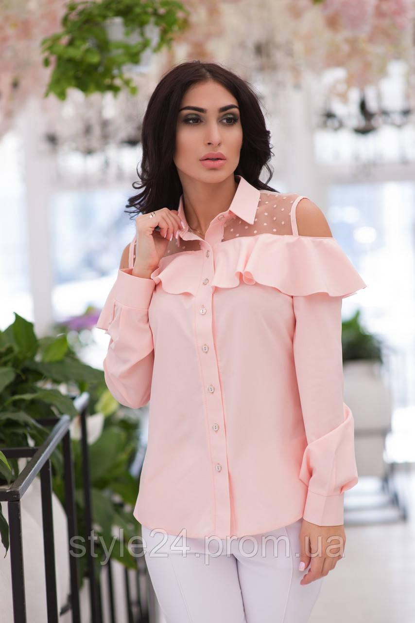 ЖІноча  блуза з рюшами та сіткою в горох .Р-ри 42-48