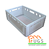 Ящик пластиковый белый - Е2 (600х400х195 мм)