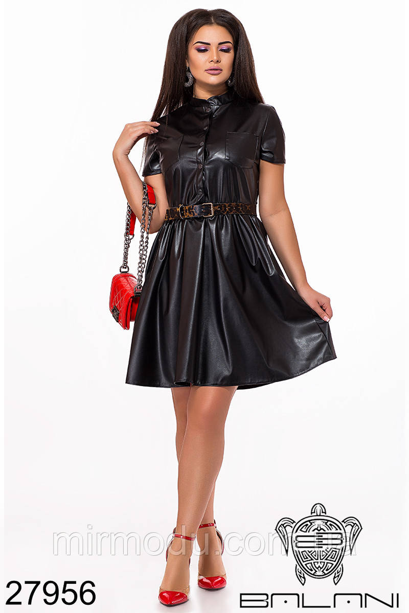 Батальное платье из эко-кожи  - 27955 (4 цвета)  с 48 по 58 размер (бн)