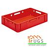Пластиковый ящик для продуктов питания красный- Е1 (600х400х120 мм)