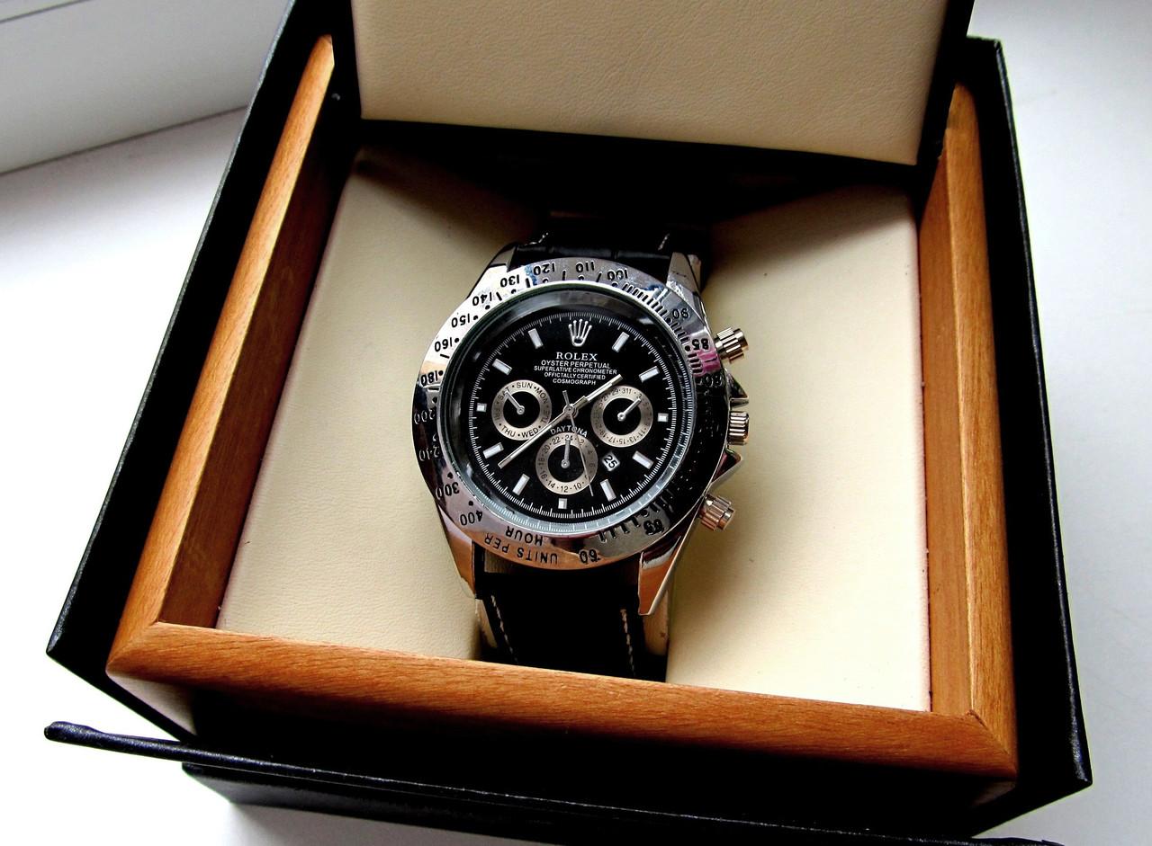 Часы Наручные Rolex Daytona Черное Серебро  20d26cdd9cabf