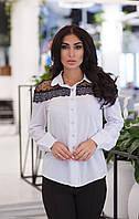 ЖІноча  блуза з рюшами, сіткою в горох та кружевом .Р-ри 42-48