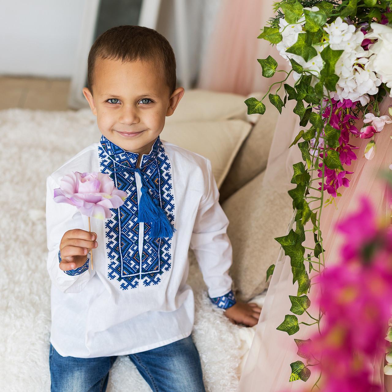 """Вышиванка для мальчика """"Миколка"""" на домотканом полотне с украинским орнаментом"""