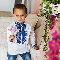 """Вышиванка для мальчика """"Миколка"""" на домотканом полотне с украинским орнаментом, фото 1"""