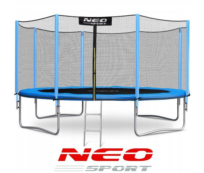Батут NeoSport 374 см. с внешней сеткой и лесенкой